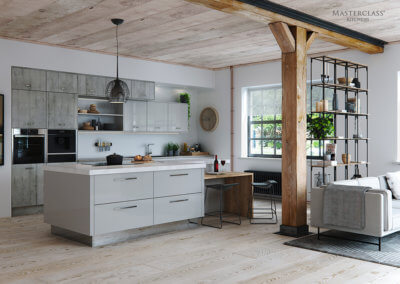 Masterclass Lumina-Light-Grey-with-Mirror-plinth-and-Madoc-Manhattan - Perfect For The Kitchen